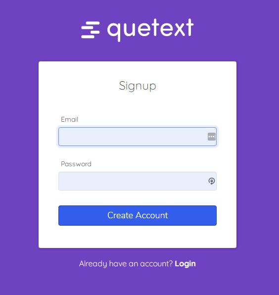 Form đăng ký quetext