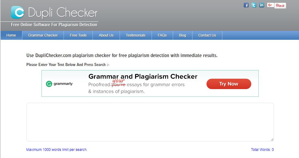 Giao diện trang chủ của duplichecker