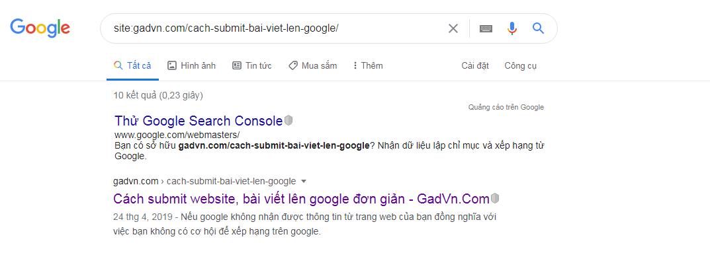 Kiểm tra bài viết đã được google index hay chưa