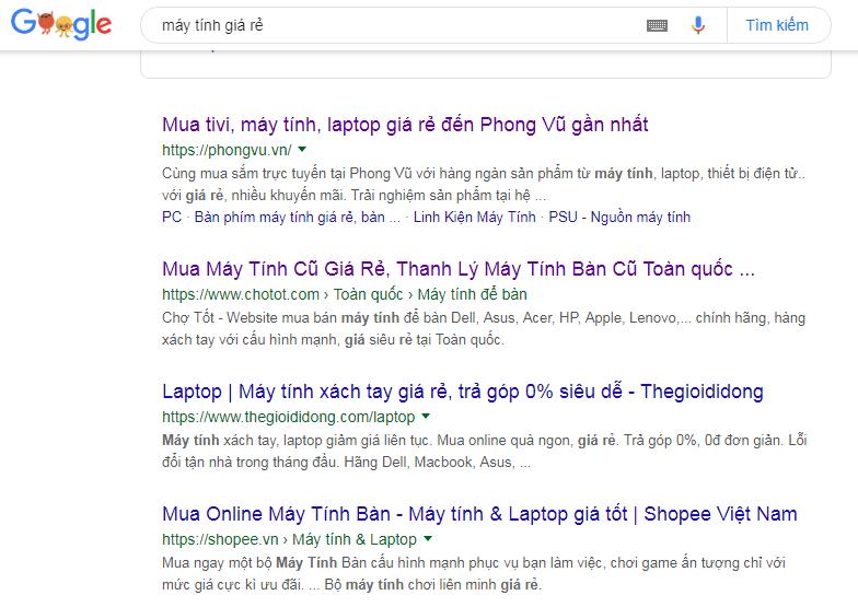 """Tìm kiếm từ khóa """"máy tính giá rẻ"""" trên google"""