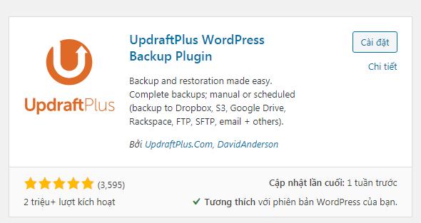 Cài đặt  plugin updraftplus