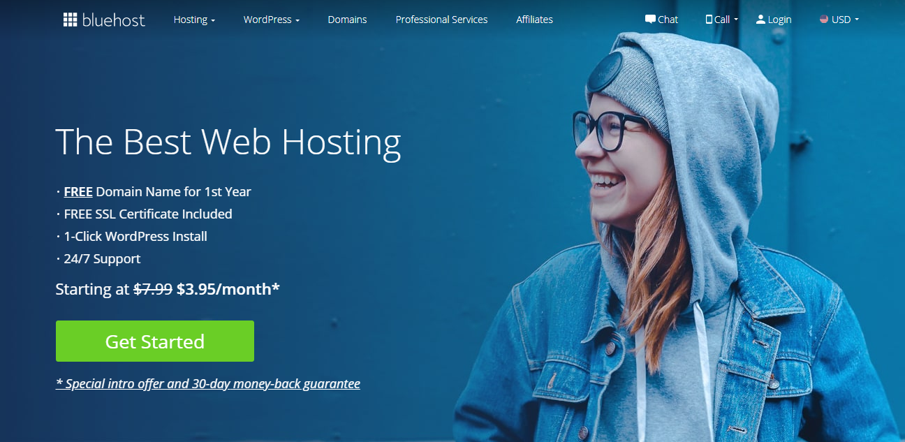 Giao diện của bluehost
