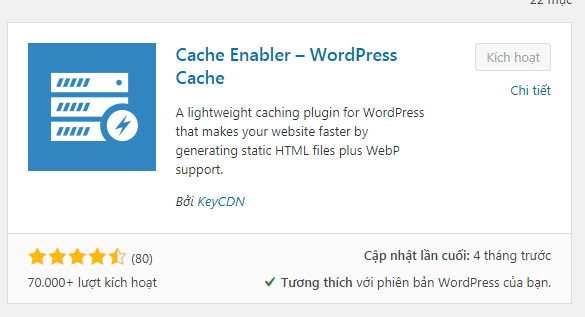 Cache enabler trên kho plugin
