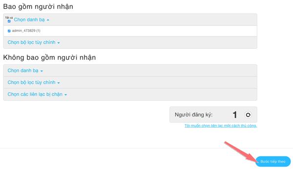 Chọn danh bạ gửi mail