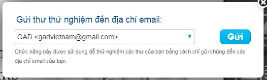 Chọn mail để xem thư thử nghiệm