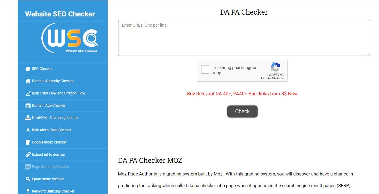 Check PA và DA