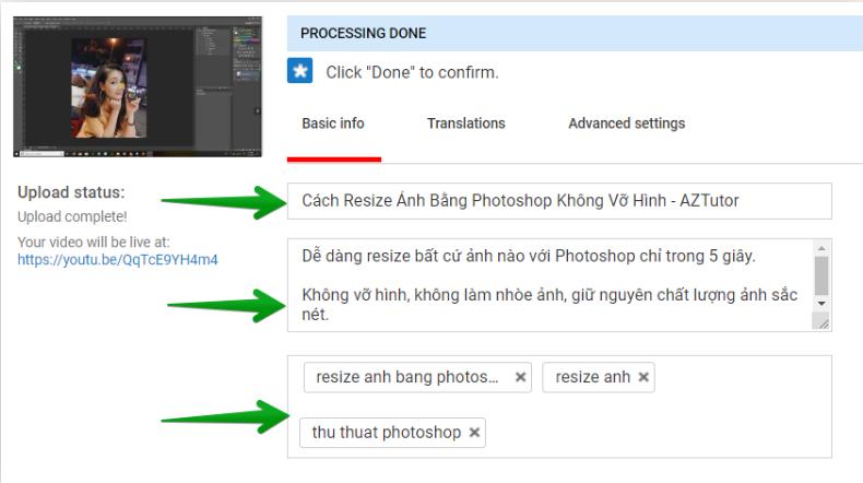 Điền thông tin khi đăng video