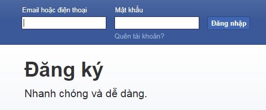 Đăng nhập vào tài khoản Facebook