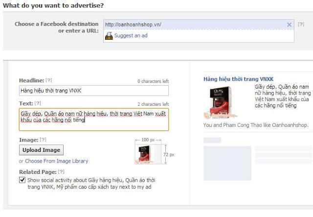 Thiết lập chi tiết đối tượng quảng cáo