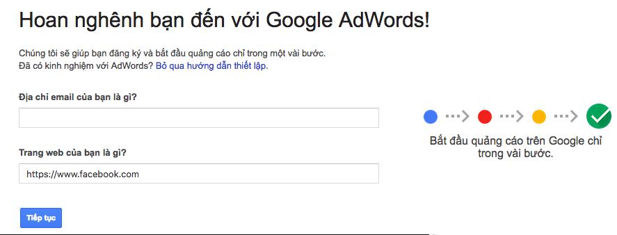 Điền email và trang web quảng cáo