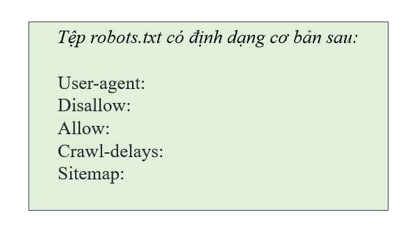 Mẫu định dạng chuẩn của robot.txt