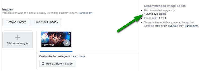 Facebook sẽ gợi ý kích thước chuẩn cho bạn
