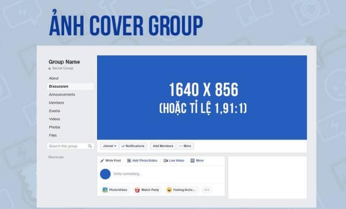 Ảnh bìa group để 1640x856 px là chuẩn