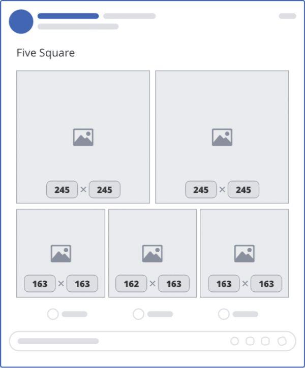 Khung hiển thị 5 ảnh hình vuông