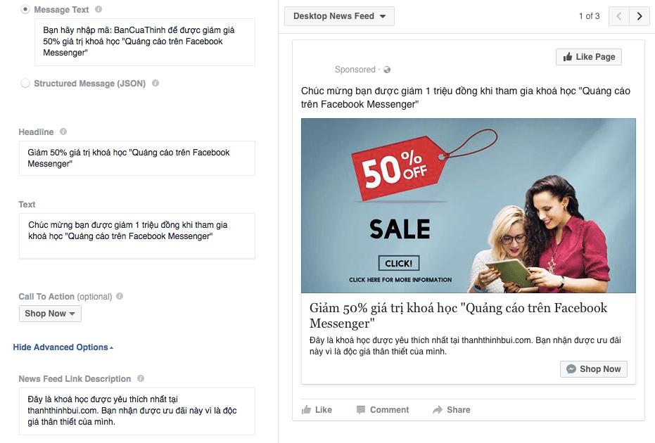 Tạo một quảng cáo facebook messenger hấp dẫn