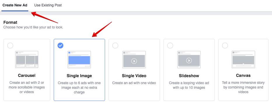 Lựa chọn hình ảnh hoặc video để chạy facebook messenger