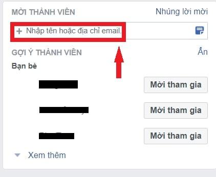 Nhập email mà bạn muốn mời