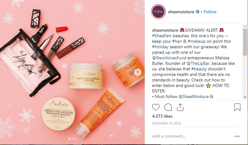 Một chương trình giveaway trên instagram