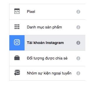 Kết nối instagram với trình quảng cáo