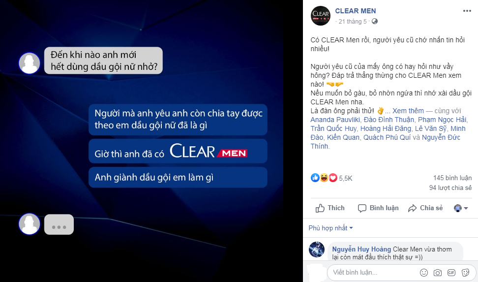 Một bài đăng đơn giản trên Fnapge Clear Men đã có 5,5k like