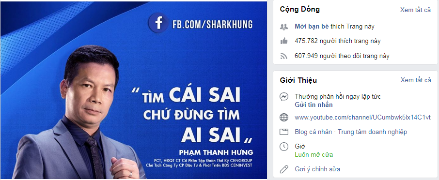 Shark Hưng đã trở thành một Influencer chính hiệu khi sở hữu Fanpage với gần 500k follow