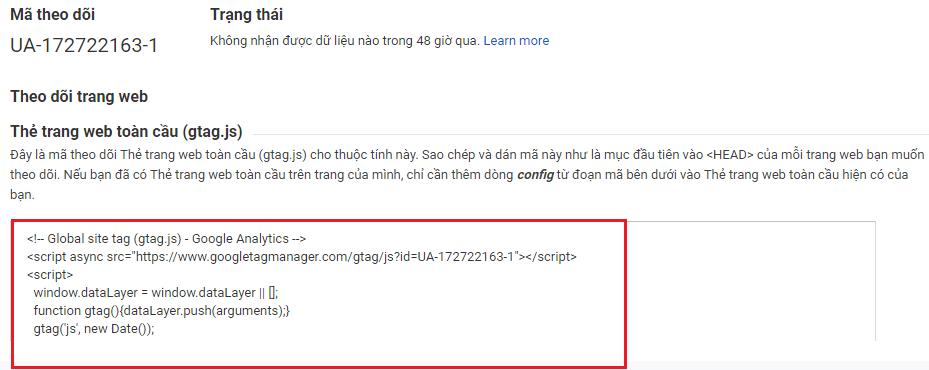 Copy lấy mã google analytic