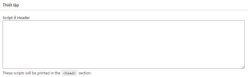 Dán mã google analytic vào ô