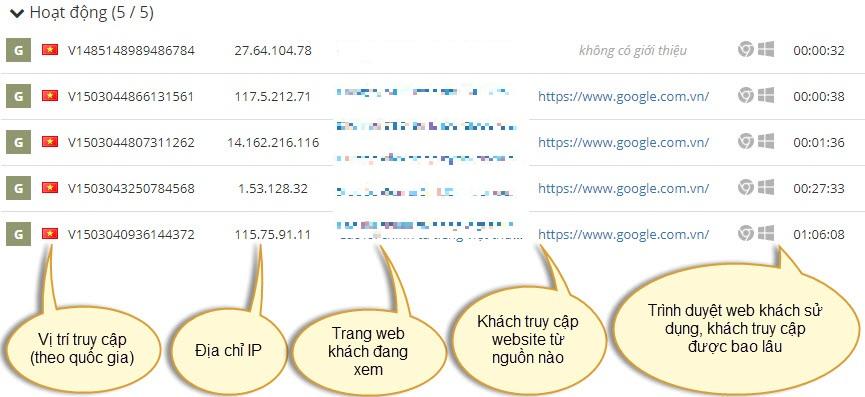 Thông tin chi tiết khách truy cập trên web